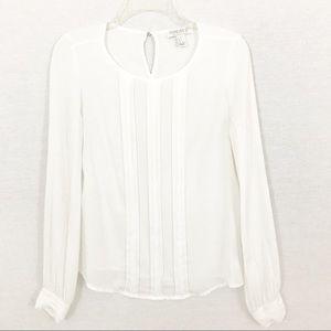 Cream, Pleat-Front Blouse